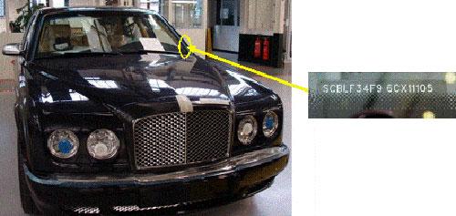 Location VIN Bentley Arnage Series, Azure, Brooklands