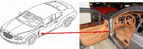 Bentley type plate location
