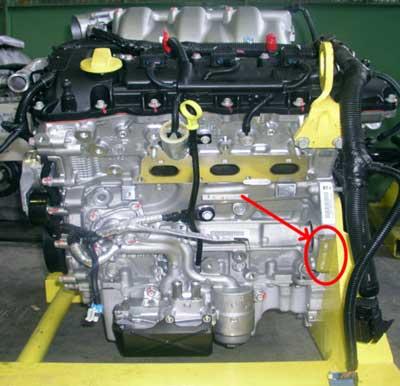 Location of the engine number Alfa Romeo