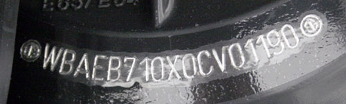The stamped VIN BMW