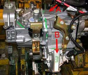 Location of the gearbox number ALFA ROMEO 5-speed gearbox