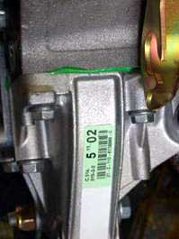 Location of the gearbox number ALFA ROMEO