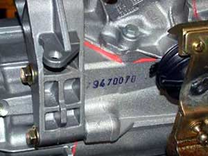 Location of the gearbox number ALFA ROMEO 6-speed gearbox