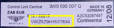 bentley Radio and CD Changer Unit Number