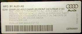 Additional visible Audi VIN number