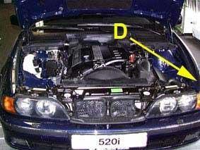 Inner side of the left wing, near the left headlight
