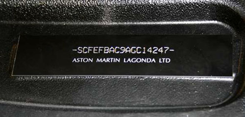 visible VIN Aston Martin