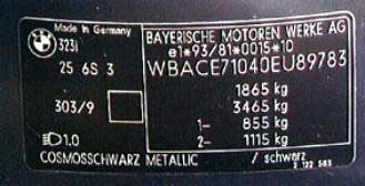 Form of the factory plate BMW CAR