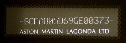 VIN ASTON MARTIN DBS