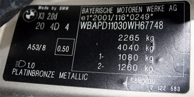 The sticker factory plate on the E 83 (X3) after Facelifting (from MY 2007)