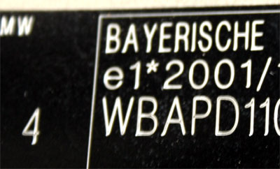 The sticker factory plate on the E 83 (X3) After facelifting