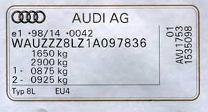 The type plate for the Audi A 3 and Audi A 4 from MY 2001 and for the Audi A2, A6 A8 and TT from the beginning of 2003