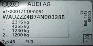 The type plate for all Audi vehicles from May 2003