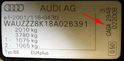 Type plate for Audi