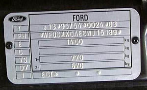 appearance of the type plate for ford