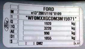 appearance of the type plate for ford FOCUS C-Max / Kuga / Fiesta