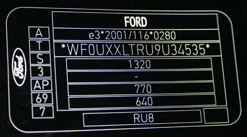 appearance of the type plate for ford KA