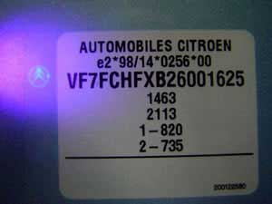 Security features on the plastic sticker
