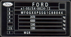 appearance of the type plate for ford Galaxy