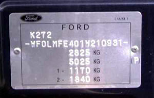 appearance of the type plate for Ford Ranger