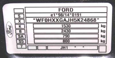 appearance of the type plate for Ford Fiesta
