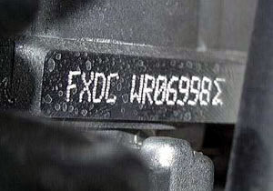Appearance of the engine number for ford