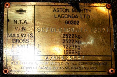 Composition and appearance of the type plates Lagonda Serie I - IV