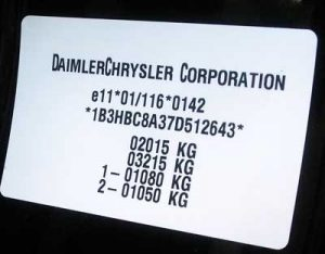 Different kinds of type plate or type sticker for Chrysler auto