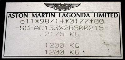 Aston Martin Vanquishplate