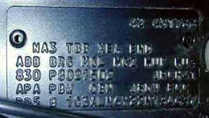 Type code badge (Voyager and All Terrain Vehicles from the end of 1989