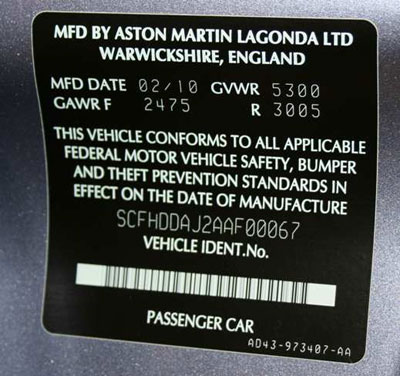 Composition and appearance of the type plates ASTON MARTIN