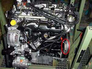 Location of the engine number PT Cruiser 2.2 litre CRD
