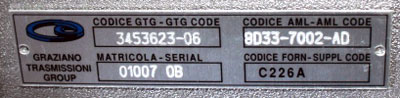 Closer of the metal number plate of the Graziano gearbox of aston martin