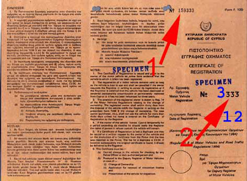 Vehicle registration certificate of Cyprus
