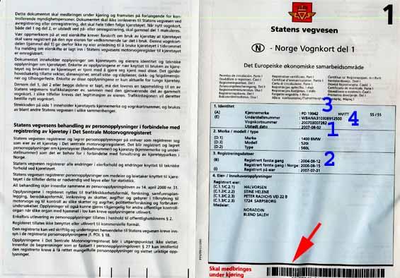 Norway vehicle registration certificate
