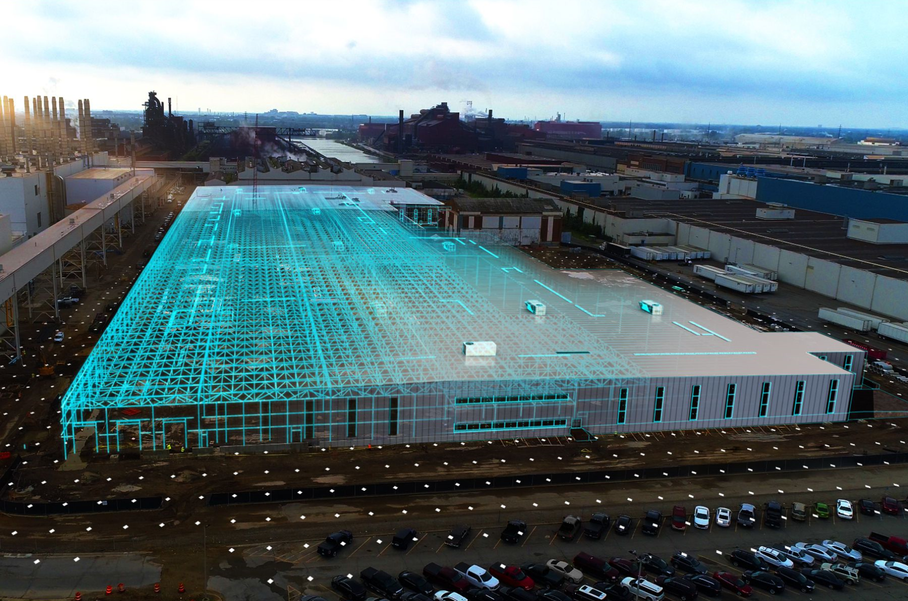 The Rouge Electric Vehicle Center in Dearborn, which will be completed by mid-2022 Ford